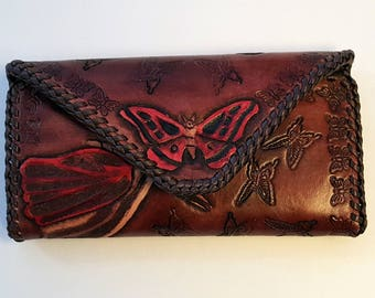 Handmade Women's Leather Clutch Wallet with Butterflies *Free Shipping*