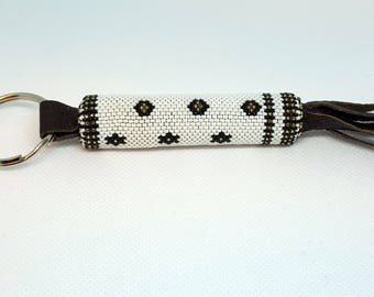 Beaded Keychain with Leather Tassles *Free Shipping*