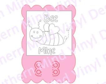 Bee Mine Valentine Crayon Card SVG