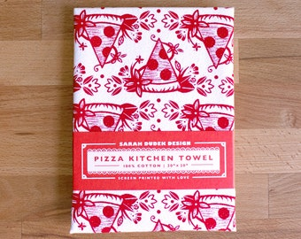 Floral Pizza Kitchen Towel