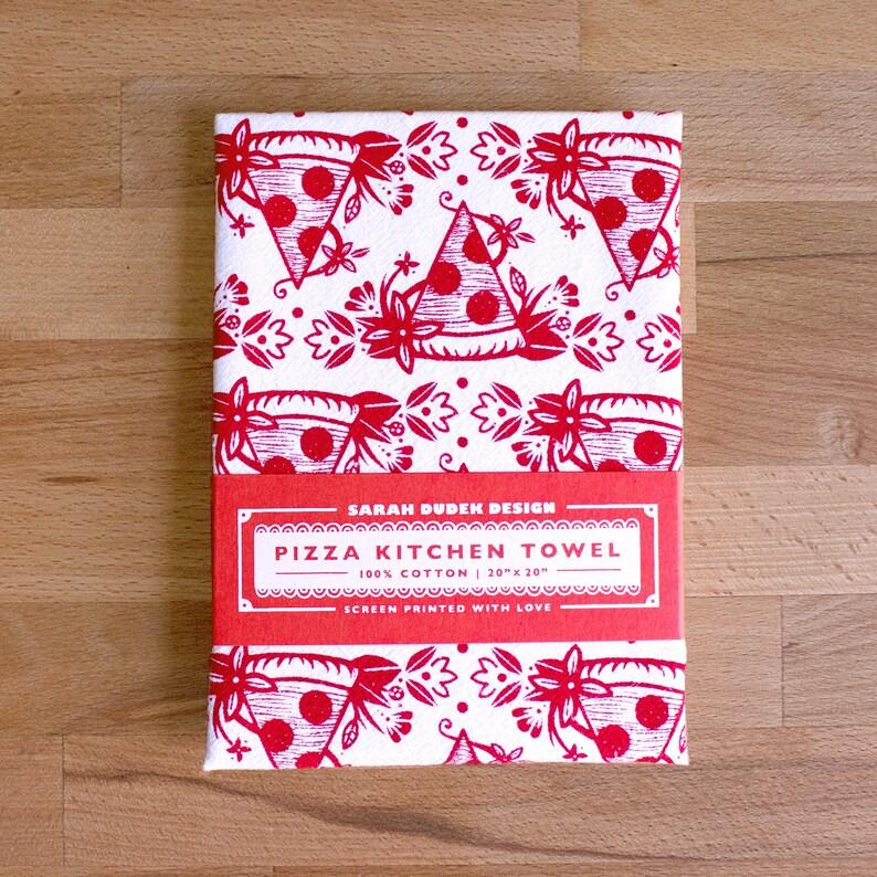 Floral Pizza Kitchen Towel image 0