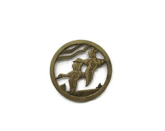 Vintage Brass Trivet with Flying Geese