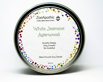 White Jasmine Agarwood  Hand-Poured Soy Candle