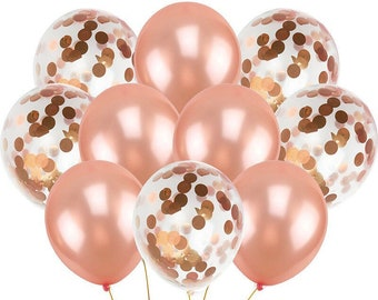 Rose gold confetti balloon Bouquet party Latex balloon   Party balloon   Rose gold birthday party balloon bundle   Rose gold decoration 