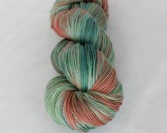 Studio Outtakes: Seafoam Peach - OOAK merino blend sock yarn