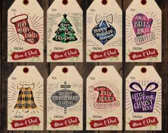 Christmas Gift Tag Printables From Mom and Dad, Christmas Present Tags, Flannel Christmas Gift Tags, Holiday Labels Printable
