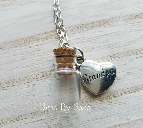 Memorial Necklace For Grandpa Urn Vial Necklace For Ashes
