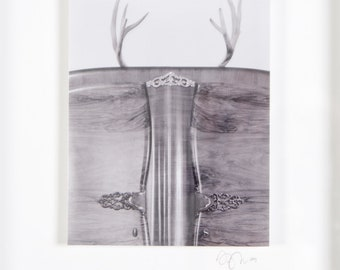Boudoir Antlers | Original Fine Art Photograph 8 in. x 10 in. Framed | Archival Print on Metallic Inkjet Paper Mounted