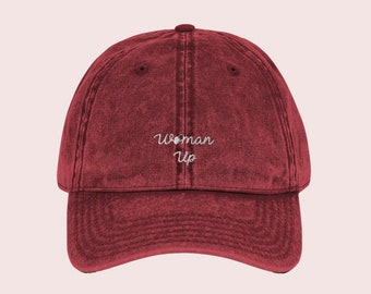 83b080f1e88c6 Woman Up Distressed Vintage Embroidered Feminist Baseball Cap • Women s  Movement Equal Rights Political Activist Protest Dad Hat
