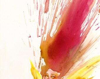 Flame fairy, watercolor giclée print