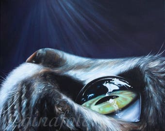 Giclée print of a cool silver cat oil painting