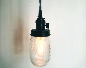 Vintage Mason Jar Pendant Light, Chevron/Black