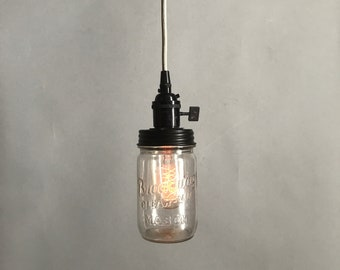 Vintage Mason Jar Pendant Light, Black/Silver