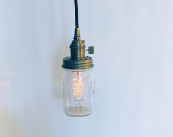 Vintage Mason Jar Pendant Light, Antique Brass