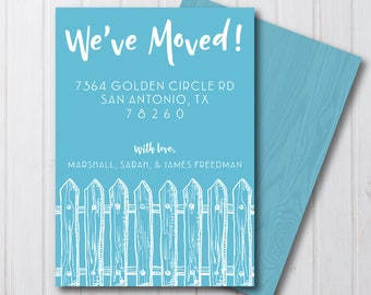 We've Moved Picket Fence Moving Announcement | 5x7 | JPEG or PDF File | Digital Download | Personalized with your Details | 5 Color Options