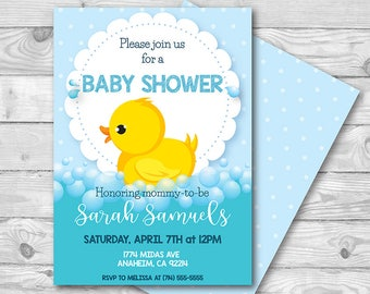 Rubber Ducky Baby Shower Invitation   5x7   JPEG or PDF   Digital Download   Personalized with your Details   Gender Neutral   Duck Bubbles