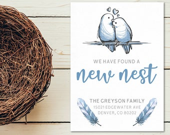 We Found a New Nest Moving Announcement | 5x7 | JPEG or PDF | Love Birds | Feathers | Digital Download | Personalized with your Details