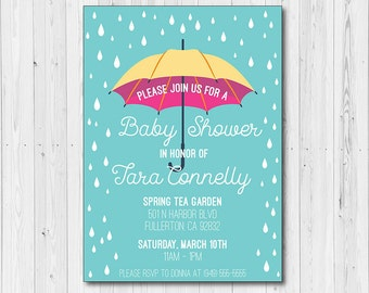 Umbrella Themed Baby Shower Invitation | 5x7 | PDF or JPEG File | Digital Download | Personalized with your Details | Rainy | Sprinkle