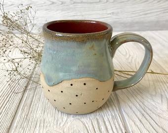 Handmade Stoneware Coffee Mug Cranberry Bog 12oz