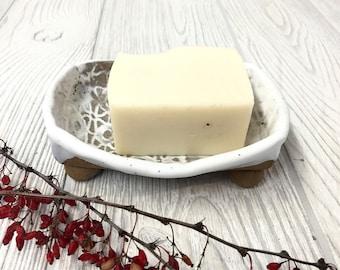 Handmade Ceramic Soap Dish - White with Vintage Lace Texture - Pottery Handmade - Kitchen & Bathroom Decor - Soap Tray - Organic Home Decor