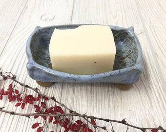 Handmade Soap Dish in Textured Blue - Pottery Handmade - Ceramic Bathroom Soap Dish - Clay Soap Tray