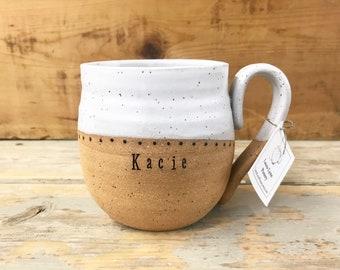 Handmade Mug with Name - Personalized Pottery - Custom Mug - Pottery Handmade - Unique Ceramic Mug - LauraLynnPottery - Made to Order Mug