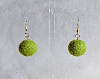 Green wool ball earrings