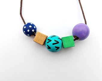 Wood bead necklace // cool colors, blue, green, purple