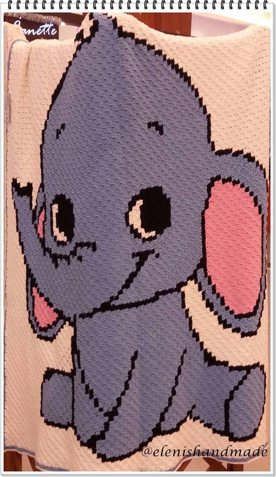 Dumbo Häkeln Baby Decke Häkeln Elefanten Baby Decke C2c Etsy