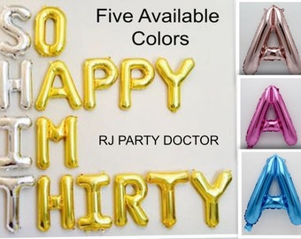16 Inch So Happy Im Thirty Balloons 30th Birthday Decor Decorations Years Bday Banner