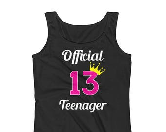 Girls Official Teenager 13 13th Birthday Tank Top / Teenage Girl Tank Top / 13th Birthday Gift / Gift for Teenager / Workout Tank Top