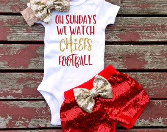 588ba6850 On Sundays We Watch Chiefs Football Bodysuit, Kansas City, Sparkle,  Training Camp, Champs, Super Bowl, Toddler, Baby, Baby Shower, KC