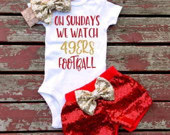 2f57b6dd898 On Sundays We Watch 49ers Football Bodysuit