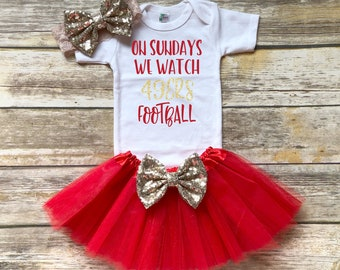 38a2dd9c7 On Sundays We Watch 49ers Football Bodysuit, San Francisco, Niner, Bay  Area, Sparkle, Training Camp, NFC, Champs, Super Bowl, Toddler, Baby