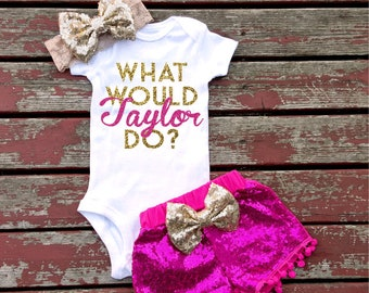 2ef416820 What Would Taylor Do Shirt, Baby Girl, Toddler, Newborn, New Baby, Baby  Shower, Infant, Gift, Sparkle, Glitter, New Baby, Taylor Swift