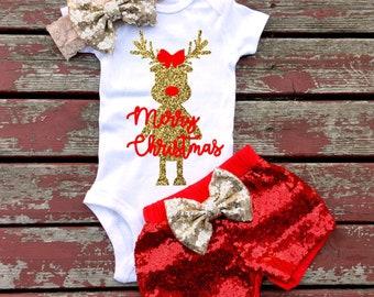 Merry Christmas Bodysuit, Baby Girl, Toddler, Newborn, New Baby, Infant, Christmas, First Christmas, Santa, Reindeer, Rudolph
