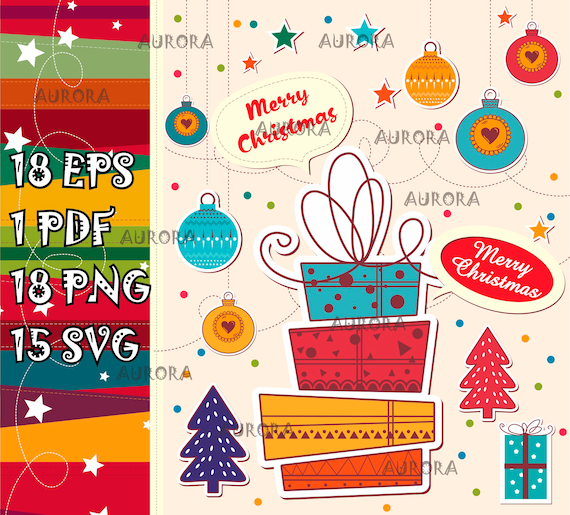 Gift Box Clipart Svg Christmas Clipart Png Svg Eps Pdf Files Christmas Present Christmas Balls Clipart Svg Merry Christmas Svg