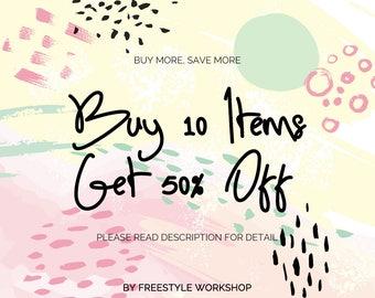 FreestyleWorkshop Promotion: Buy 10 Items Get 50% Off