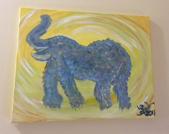 Elephant, 11x14 acrylic canvas painting