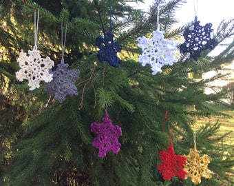 Set of 3 stars to hang in lace crochet 7 cm 8 colours