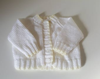 Hand Knitted Baby Cardigan. 0 - 3 Months. White & Yellow