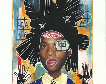 Original illustration, painting and collage , Basquiat