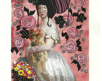 illustration, mixed media, painting and collage