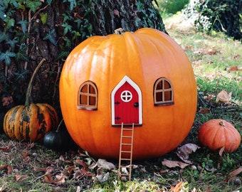 Fairy Pumpkin house set with Red Door - Pumpkin house - Outdoor Decor - Fairy garden - Fairytale door - Fall decor - Halloween decor