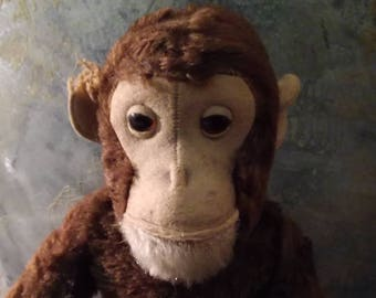 Vintage, antique, Steiff, monkey, APE, APE, chimpanzee, Chimpanzee, Jocko, sitting, Mobile, collectible, 30 's original