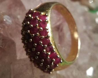 Vintage, ring, rubies, Rubies, 925 silver, 925 silver, gilded, gold plated, size 64, 20.5