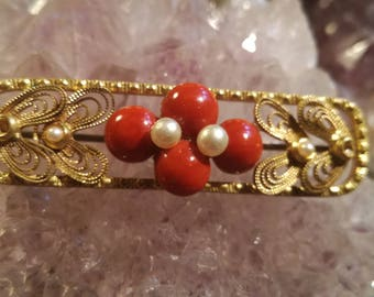 Vintage, antique, brooch, brooches, Art Nouveau, coral, coral, pearls, pearls, B20