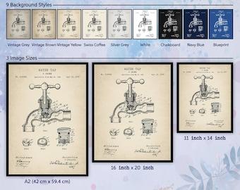 Plumbing Poster Set Plumber Gift Pipe Fitter Workshop Repairman Vintage Tools