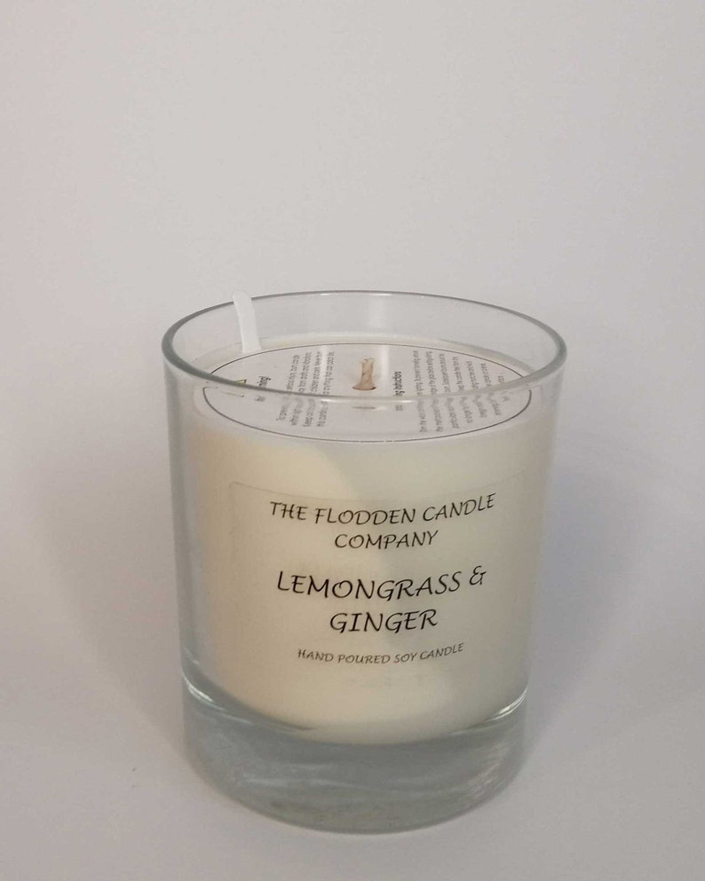 Lemongrass & Ginger  Scented Candle  Soy Candle  White image 0