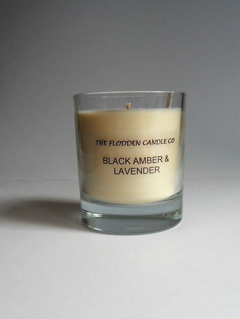 Black Amber & Lavender  Scented Candle  Vegetable Wax Candle image 0